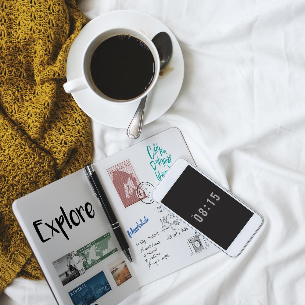 kahve, gazete, telefon